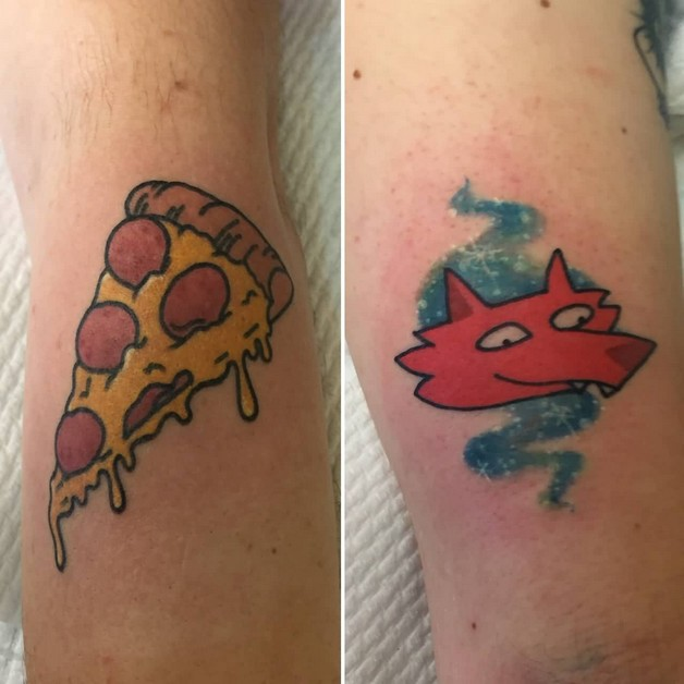 Beer Bottle And Pizza Slice Tattoos photo - 1