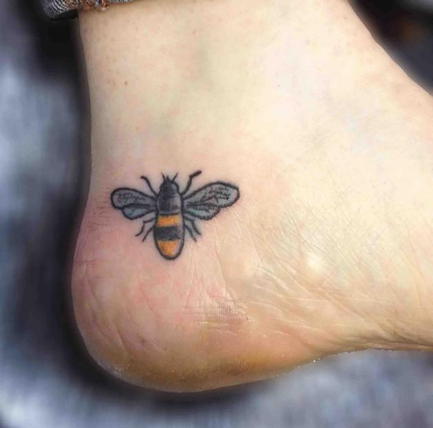 bees on flower tattoo design. Black Bedroom Furniture Sets. Home Design Ideas