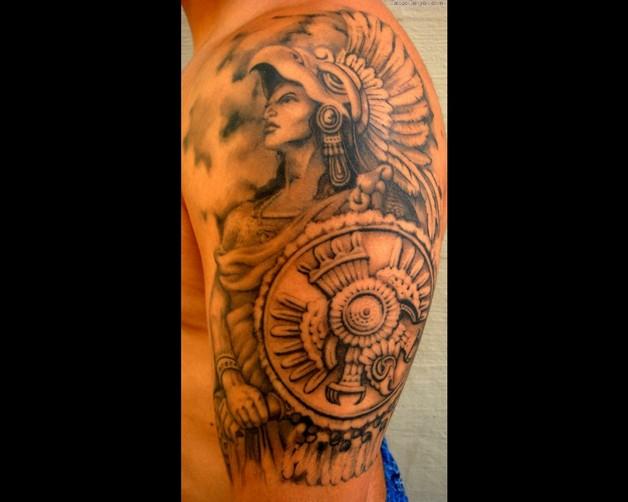 Biceps Aztec Calendar Tattoo photo - 1