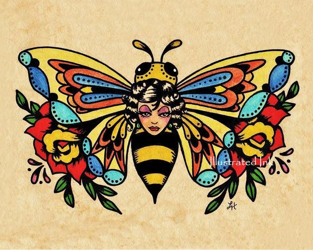 Big Bee Tattoo Design photo - 1