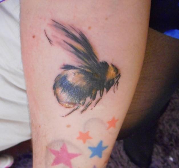 Big Colorful Bee Tattoo On Arm photo - 1