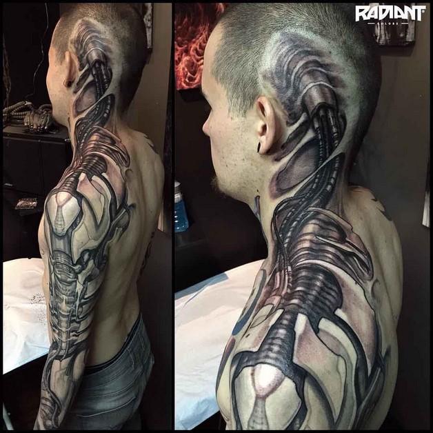 Biomechanical Giger Tattoo On Biceps photo - 1