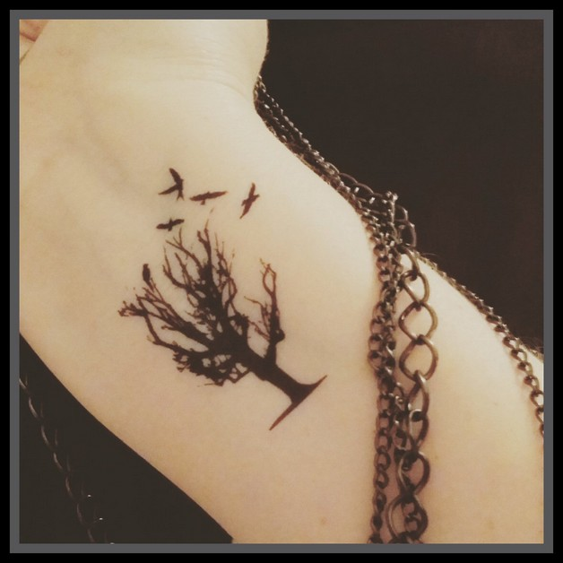 Birds And Tree In Hour Glass Tattoo photo - 1