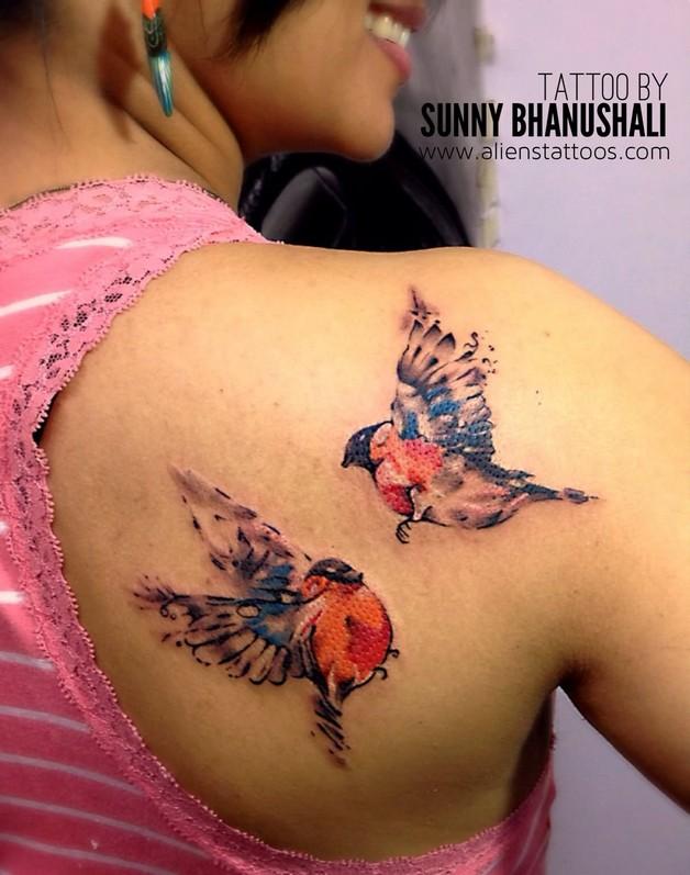 Birds n Flower Tattoo On Back Shoulder photo - 1