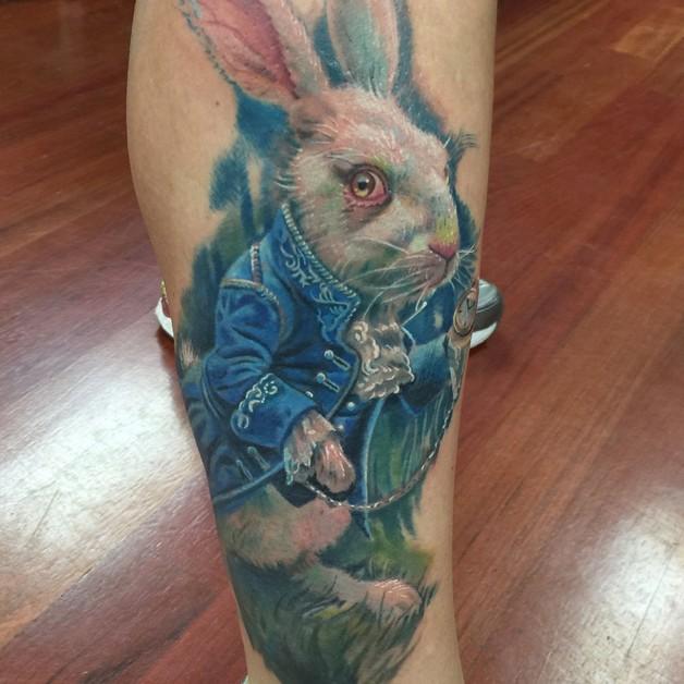 Black And White Rabbit Tattoo Model photo - 1