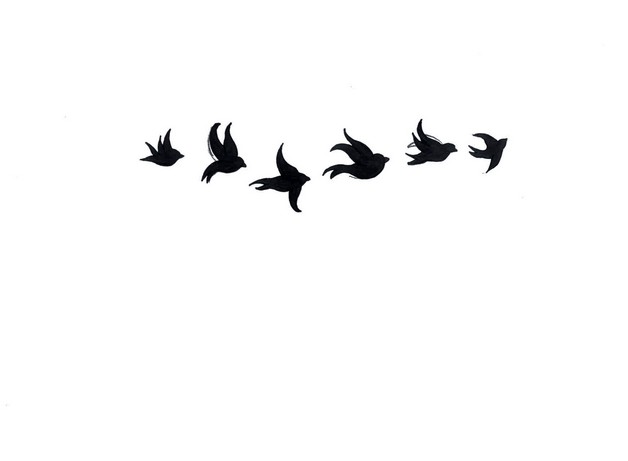Black Birds n Hummingbird Tattoo Design On Back photo - 1