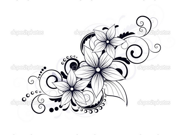 black floral swirl tattoo design. Black Bedroom Furniture Sets. Home Design Ideas