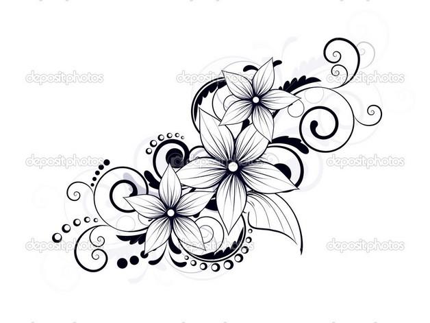 black floral swirl tattoo design
