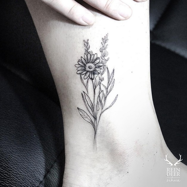Black Floral Tattoo Sample photo - 1