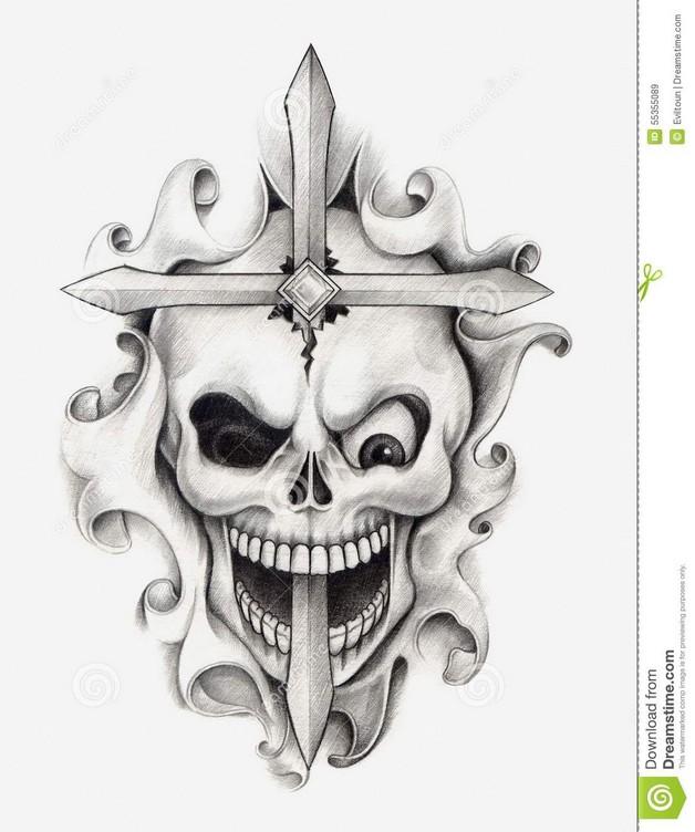 Black Heart Dagger Tattoo Design photo - 1