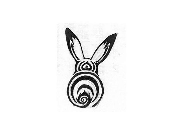 Black Ink Chinese Medicine Rabbit Tattoo Design photo - 1