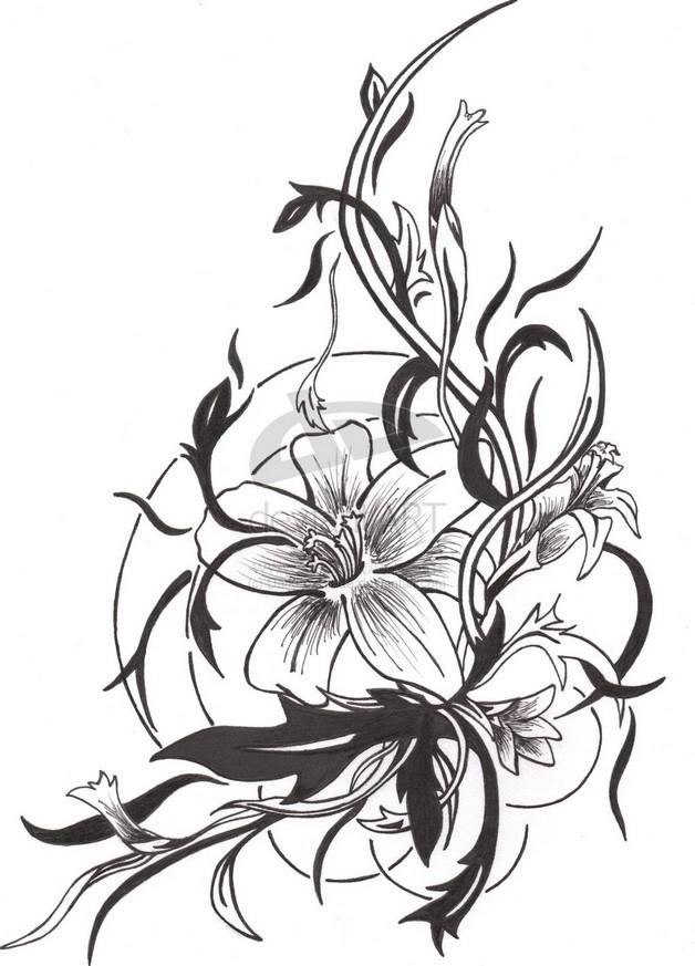 Black Ink Outline Hummingbird Tattoo Design photo - 1