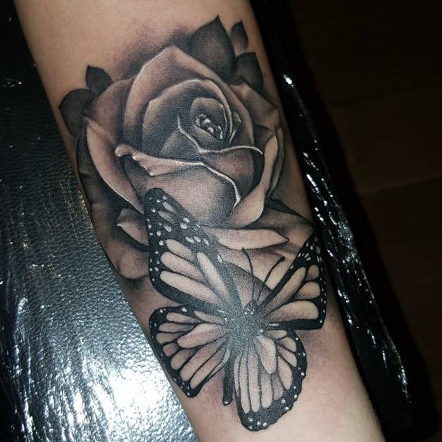 Black Ink Rabbit And Rose Tattoos photo - 1