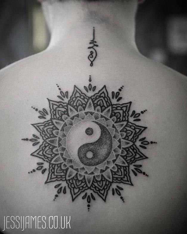 Black Ink Sun Yin Yang Tattoo photo - 1