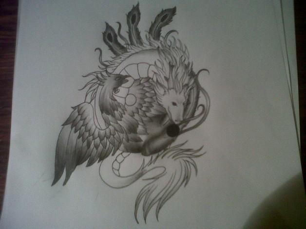 Black Ink Tribal Dragon Yin Yang Tattoo Design photo - 1