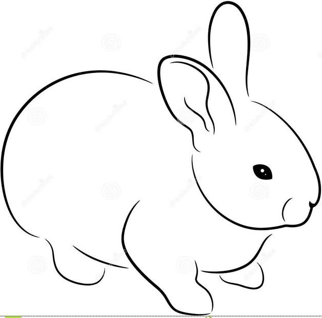 Black Outline Rabbit Tattoo Design photo - 1