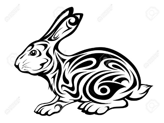Black Outline Rabbit Tattoo Version photo - 1