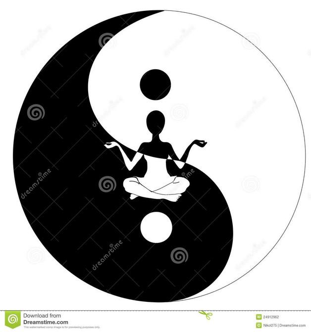 Black White Yin And Yang Symbol Tattoo Design photo - 1