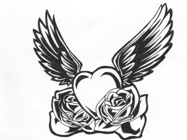 Black n White Heart Diamond Tattoo Design photo - 1