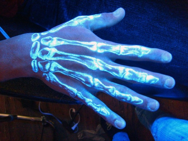 Blacklight Skeleton Hand Tattoo Design