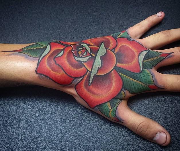 Blue Diamond Tattoo Design On Hand For Women photo - 1