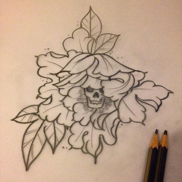 Blue Flower Tattoo Stencil