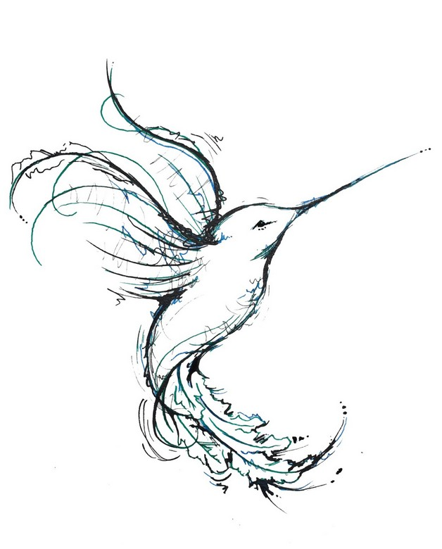 Blue Ink Hummingbird Tattoo Design photo - 1