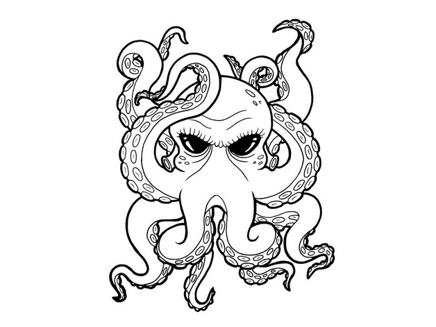 Blue Outline Octopus And Diamond Tattoos photo - 1