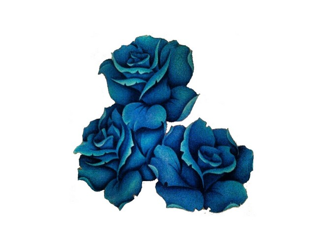 Blue Rose Flower Tattoo Stencil photo - 1