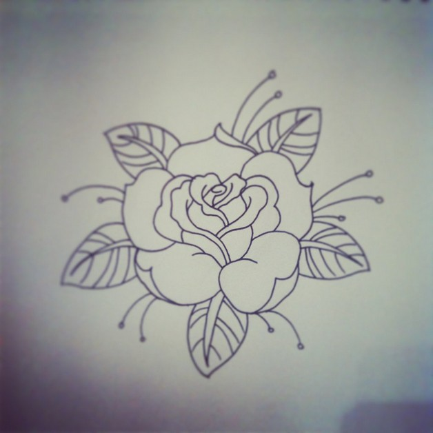 Blue Rose n A Dagger Tattoo Design photo - 1