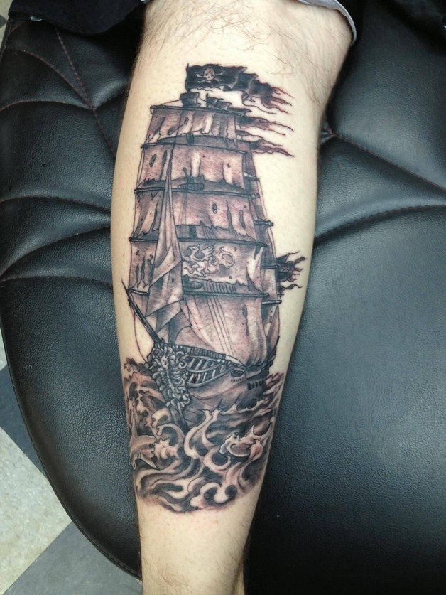 d3c7dccac Boat In Ship Tattoo On Forearm