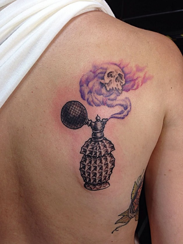 Bottle Of Perfume Tattoo With Roses photo - 1
