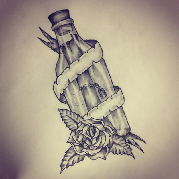 Bottle Tattoo Sketch photo - 1