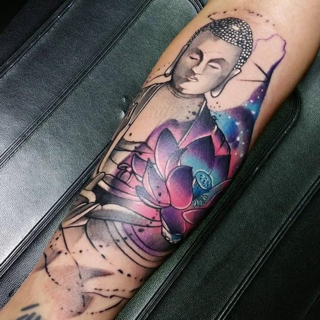 Buddha Floral Tattoo Design On Sleeve photo - 1