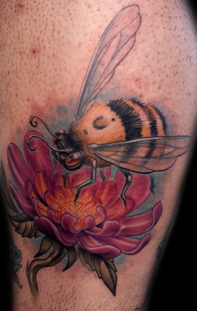 Bumblebee on flower bee tattoo for Bee and flower tattoo