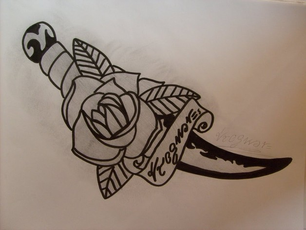 Butterfly Dagger Tattoo Design photo - 1