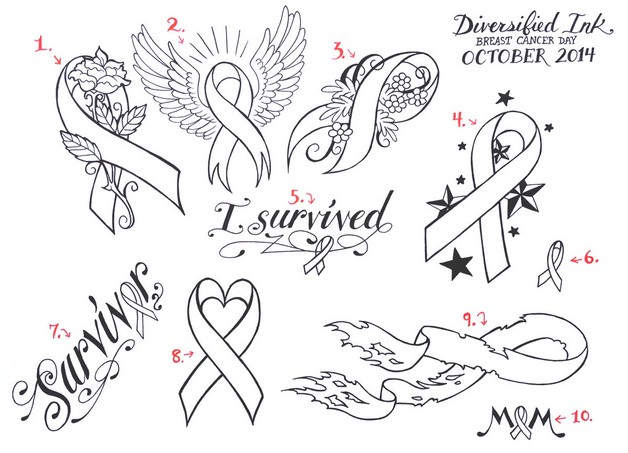 Cancer Ribbon Tattoo Design By Pencil