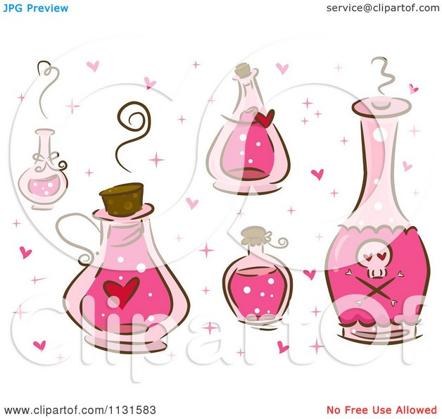 Cartoon Of Pink Love Potion Bottles Tattoo Designs photo - 1
