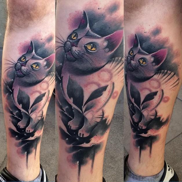 Cat Head Tattoo Design On Leg photo - 1