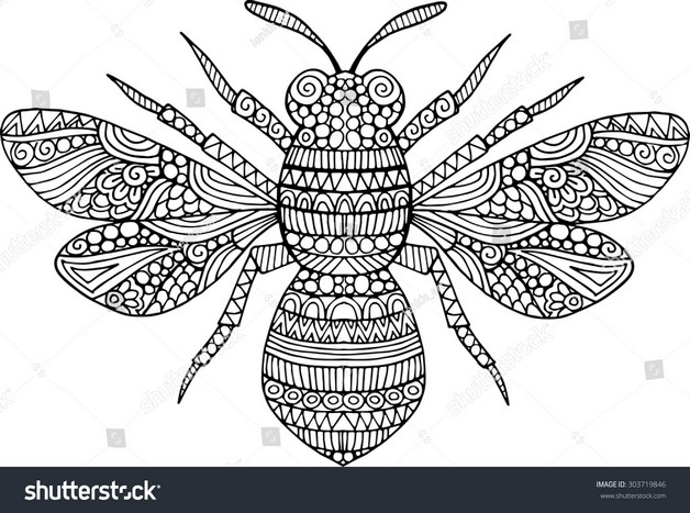 Cheerful Bee Outlined Tattoo Design photo - 1