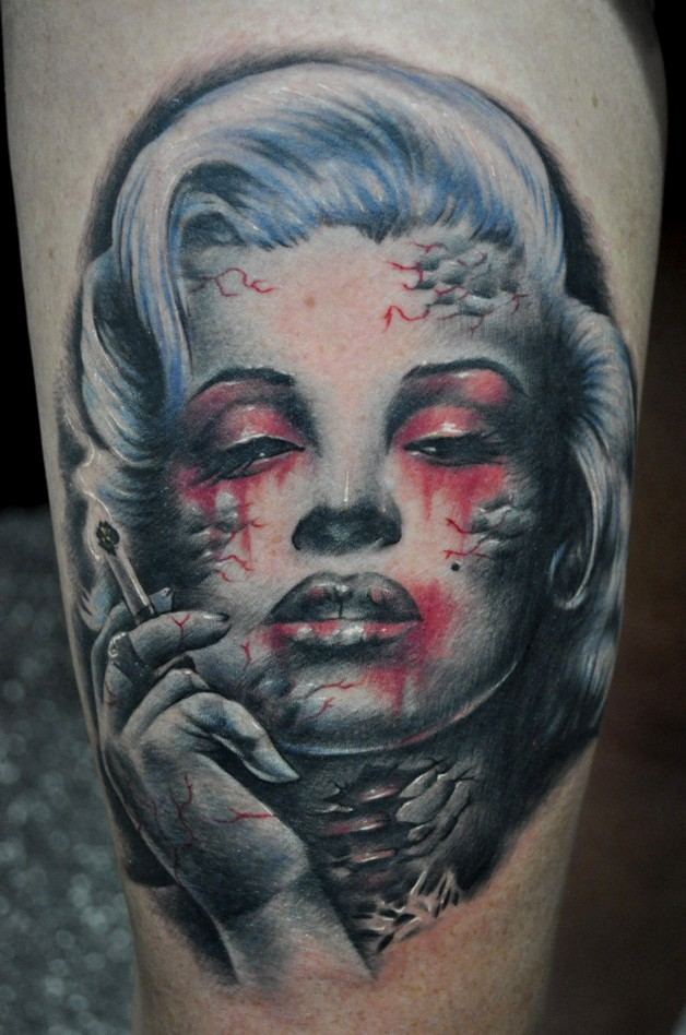 Chef Zombie Pinup Color Portrait Tattoo photo - 1