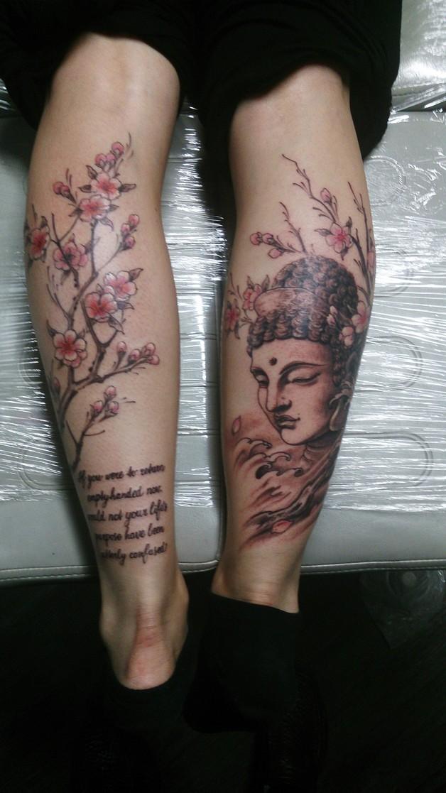 Cherry Blossoms Tattoo On Leg photo - 1