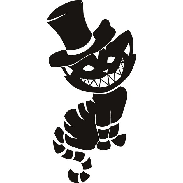 Cheshire Cat With Hat Tattoo Design photo - 1