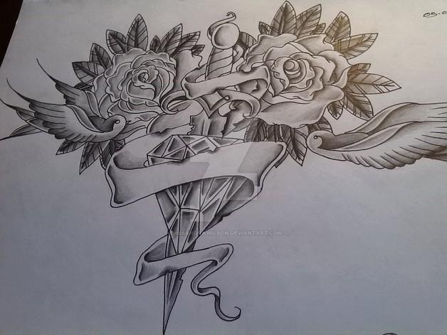 Chest Piece Diamond Roses Tattoo Design photo - 1