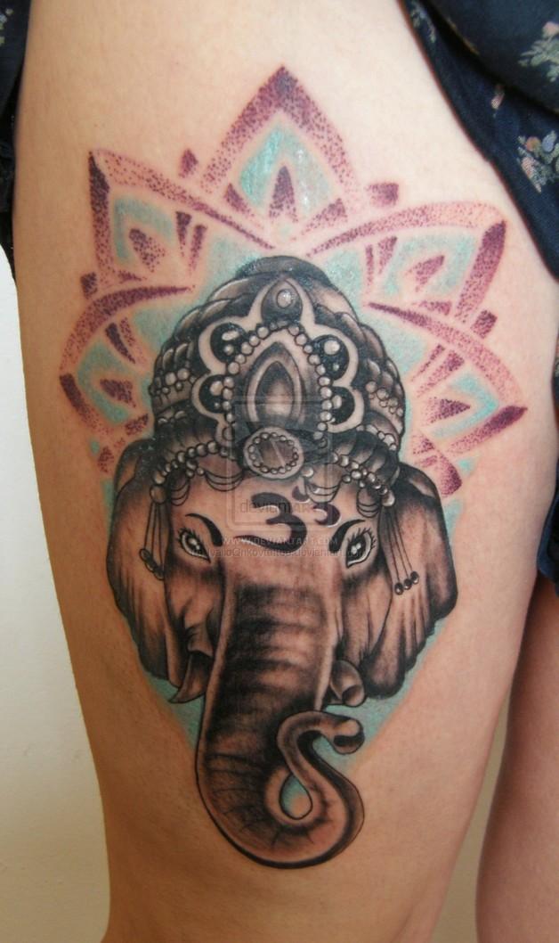 Chinese Dragon n Dagger Tattoo On Upper Arm photo - 1