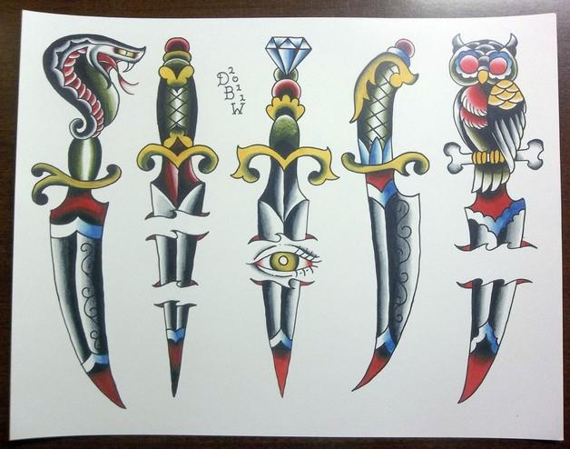 Classic Dagger n Banner Tattoo Design photo - 1