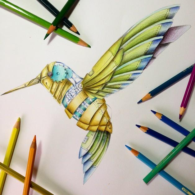 Clockwork Hummingbird Tattoo Design photo - 1