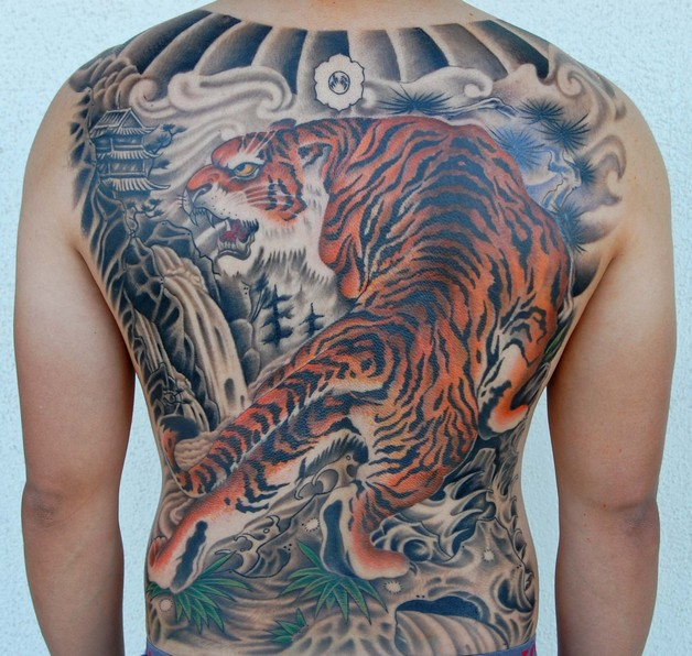 Colored Chinese Tiger Tattoo On Half Sleeve photo - 1