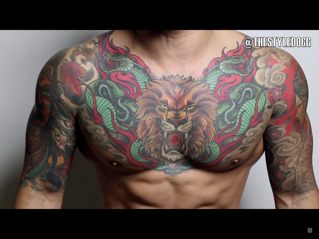 Colored eagle tattoo for chest for Color chest tattoos