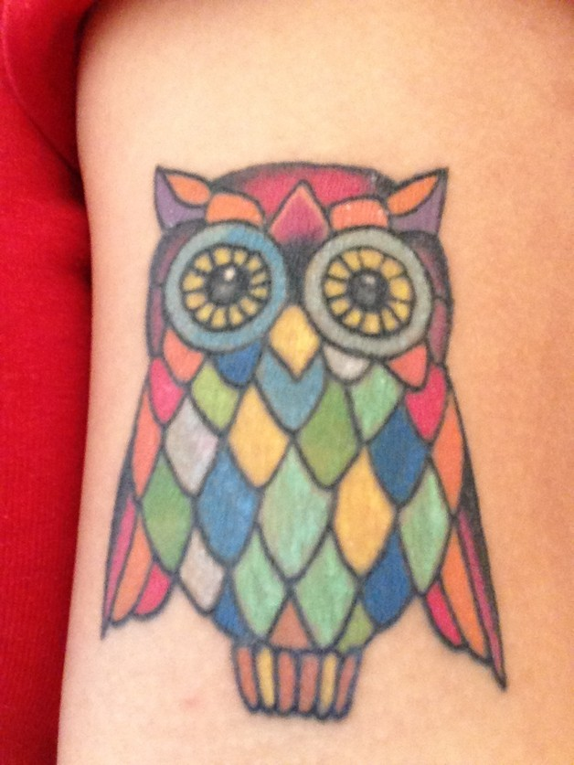 Colorful Stained Glass Owl Tattoo photo - 1